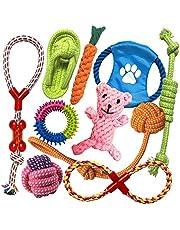 TINGERIA® Zabawka dla szczeniaków dla małych i średnich kurczaków, 10-częściowy zestaw zabawek dla psa, niezniszczalna i interaktywna zabawka do żucia zębów
