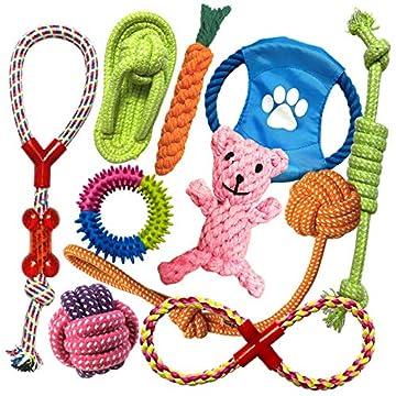 😎【Gesundes & haltbares Material】Das aus Naturkautschuk, Baumwolle und Nylon hergestellte Hundespielzeug Set befriedigt den natürlichen Kauinstinkt Ihres Hundes. Es ist umweltfreundlich, robust und unschädlich für die Gesundheit Ihres Hundes. 😎【Zahnpf...