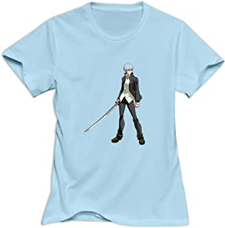 Protagonist Persona 4 Fun Roundneck SkyBlue T Shirts For Women's Size XS