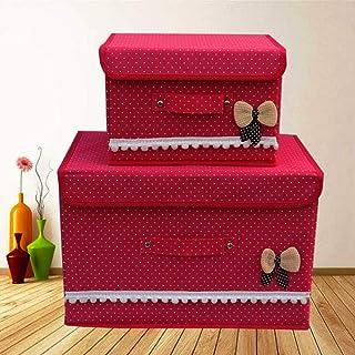Boîtes de Rangement en Tissu à Motif Bowknot Pliant Sac Organisateur en Tissu Non tissé S L Utilitaire avec Couvercle Boît...