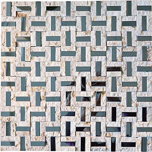 Split Faced Beige Stone & Stainless Steel Authentic Glass Mosaic Tiles for Bathroom and Kitchen Walls Kitchen Backsplashes