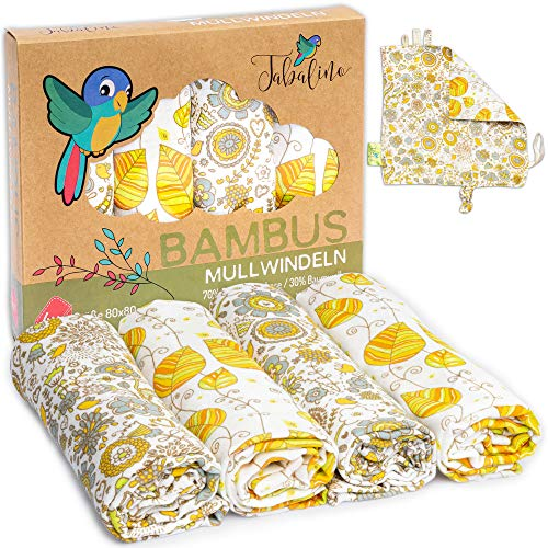 Tabalino Superweiche Bambus Mullwindeln Spucktücher | 80x80cm | 4er-Pack + gratis Schmusetuch |doppelt dicht gewebt| Stoffwindeln Baby Junge & Mädchen Mulltücher Moltontuch 30% Baumwolle (Blumen)