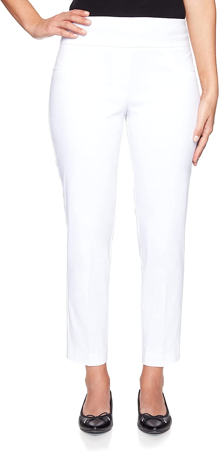 Ruby Rd. Womens Plus-Size Mid-Rise Pull-On Straight Solar Millenium Tech Ankle Pant White Size 16W