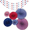 Coxeer Patriotic Decorations,Red White Blue Hanging Tissue Paper Fan with Star Streamers for 4th of July Independence Day Decoration?7PCS?