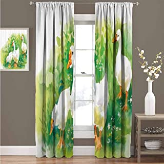 EDZEL Room Darkening Wide Curtains, Thermal Insulated Blackout Curtains, Duck, Goose in Farm Lake Plants Grass Reeds Flowers Pond Animals Geese Feathers Life Paint Style, 96