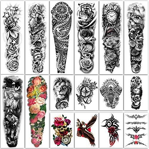 Tatuaggi temporanei extra large 8 fogli Tatuaggi finti a braccio completo e 8 fogli adesivi per tatuaggio a metà braccio per uomo e donna (16 fogli)