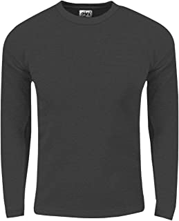 Fitscloth Mens 9.5 oz Heavyweight Spandex Waffle Fitted Thermal Long Sleeve Crewneck T Shirt