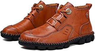 Men's Military Boots,Autumn Winter Fashion Booties Outdoor Work Walking Ankle Boots,Brown- 40/UK 7/US 7.5