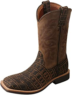 Twisted X Boys' Caiman Print Cowboy Boot Square Toe