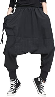 Women's Elastic Waist Black Genie Pants Yoga Trouser GY2052