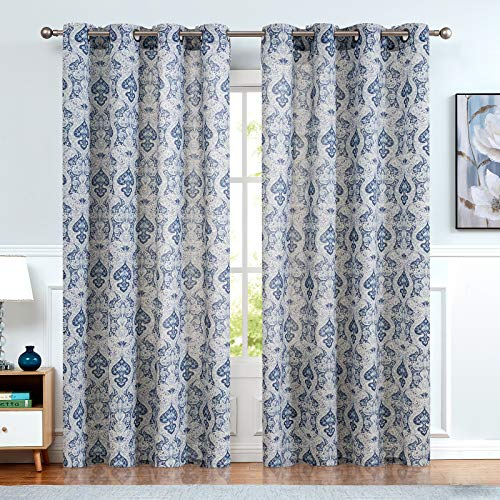 Vintage Linen Curtains for Living Room with Multicolor Damask Printed Drapes for Bedroom Medallion Curtain Sets for Windows Patio Door 2 Panels 84 Inch Blue