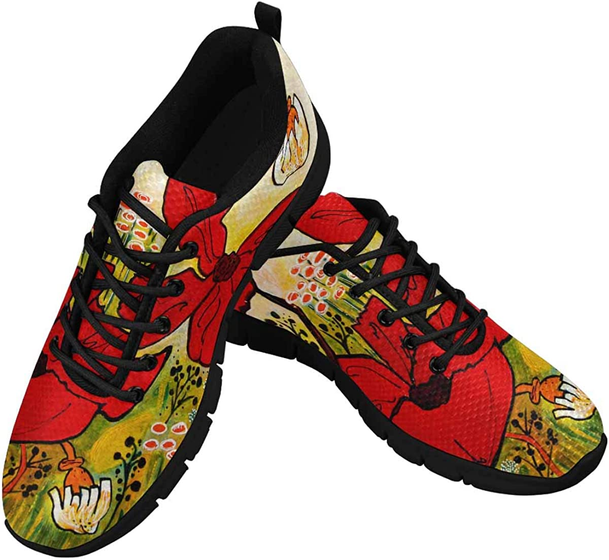 InterestPrint Beautiful Pattern of Poppies Lightweight Mesh Breathable Sneakers for Women