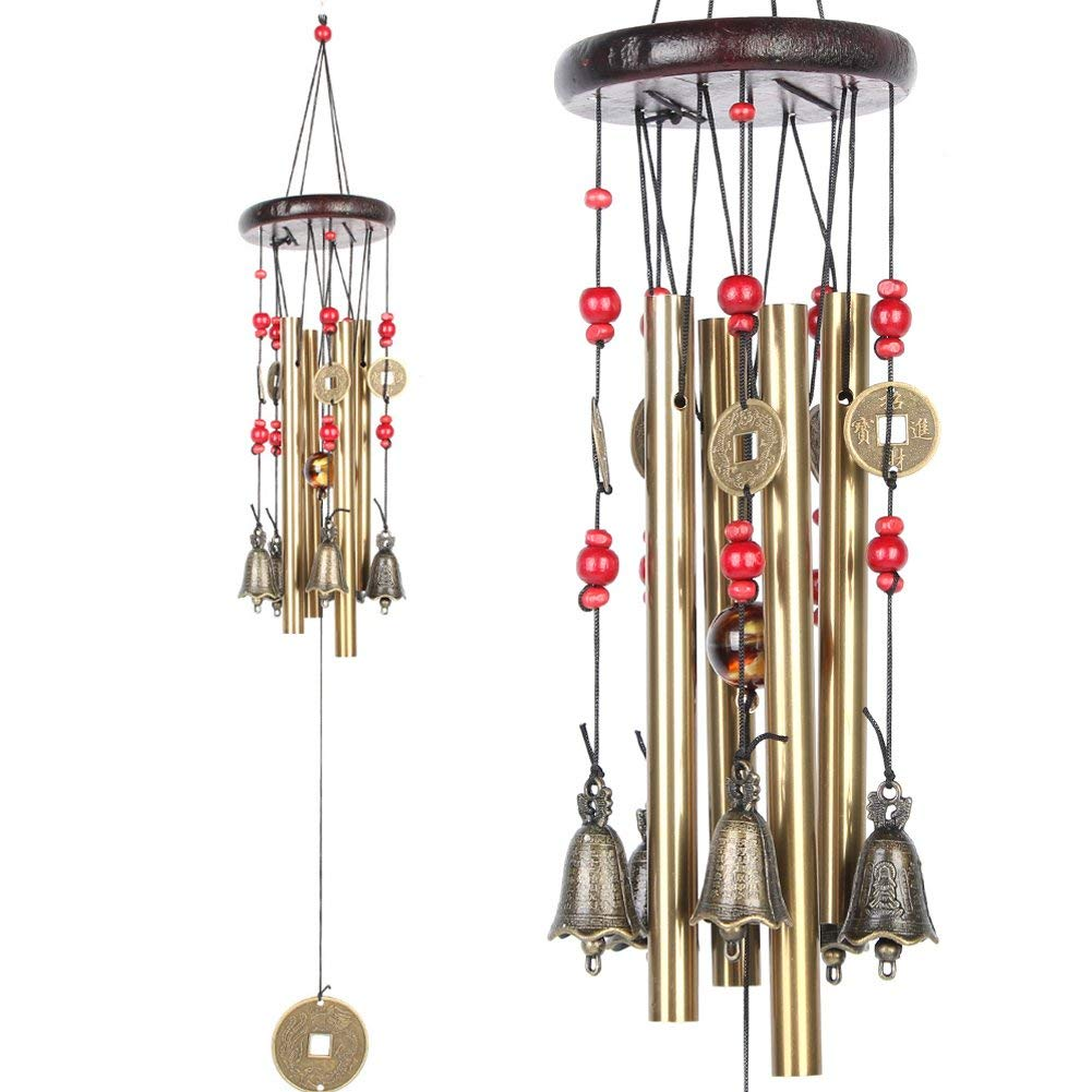 Bwinka Chinese Traditional Amazing 4 Tubes 5 Bells Bronze Yard Garden Outdoor Living Wind Chimes 60cm (1402966001)