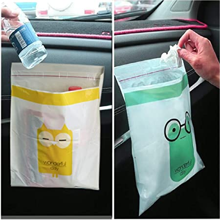 etc. Easy Stick-On Waterproof and Leakproof Convenient and Removable 45 PCS Living Rooms Odorless Kitchens Suitable for Cars Automobile Disposable Garbage Bags