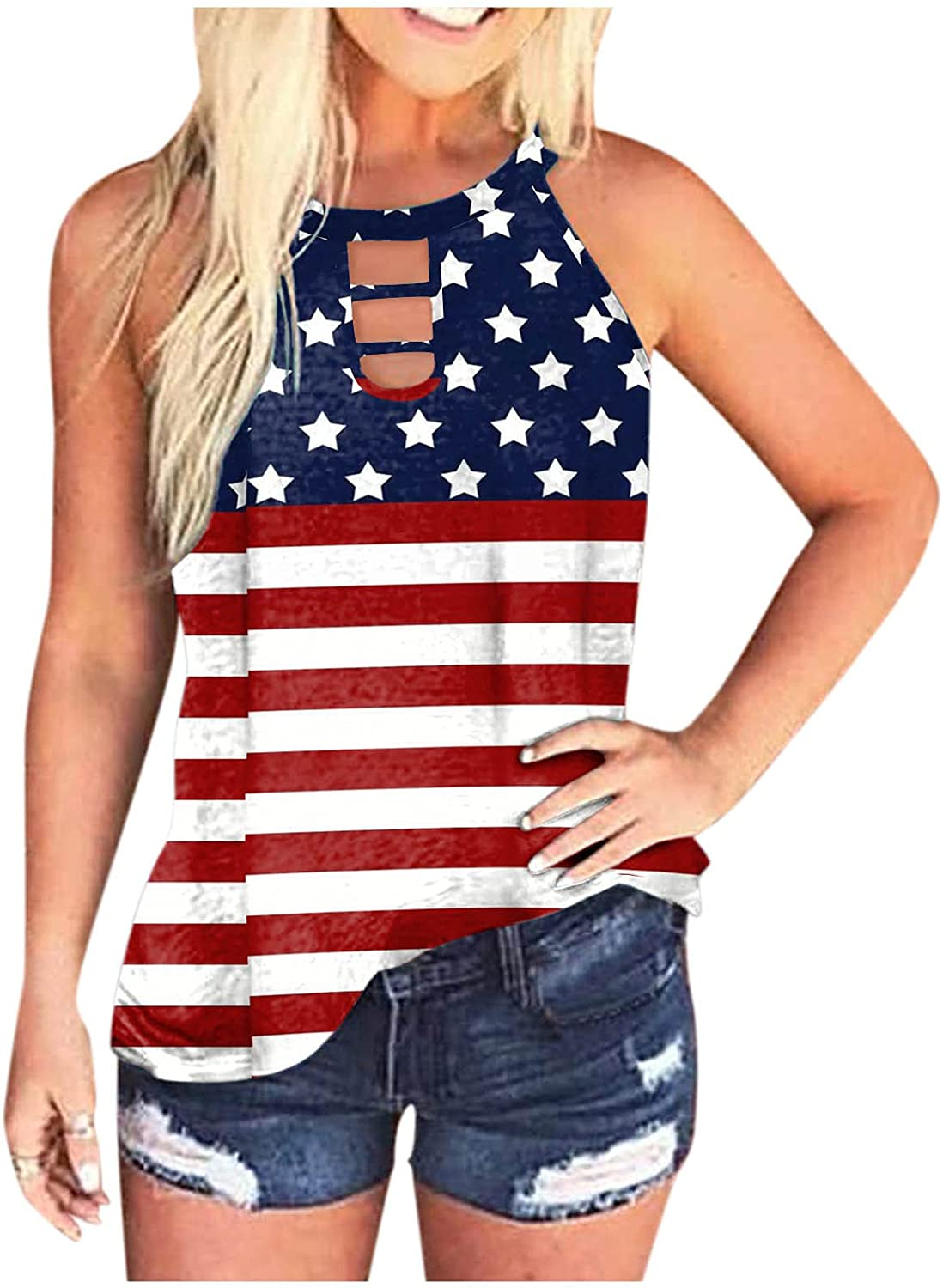 BEUU Womens Tank Tops, Women Round Neck Gradient Printed Sleeveless Summer Loose Fit Vest Tunic Camisoles Shirts Blouses