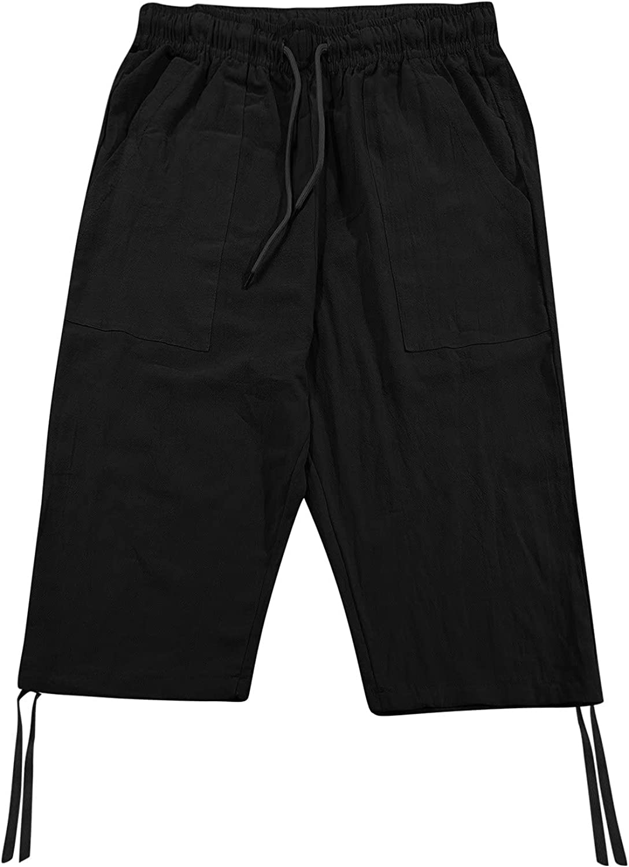 LEIYAN Mens 7 Inch Inseam Cargo Shorts Casual Loose Fit Waist Relaxed Summer Travel Running Workwear Capri Yoga Shorts