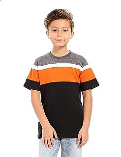 Andora Cotton Crew-Neck Color Block T-shirt for Boys