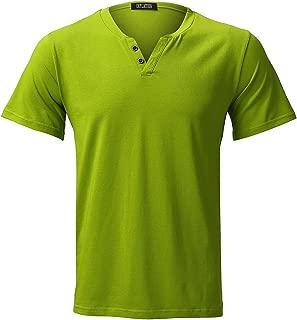 INFLATION Mens Elastic Slim Fit Short Sleeve Button V-Neck Causal T Shirt