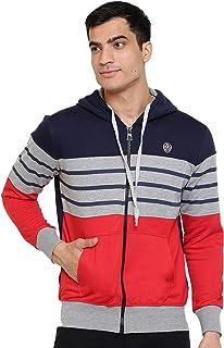 GHPC Striped Sweatshirt Jacket Full Sleeves Slim Fit Hoodies For Men