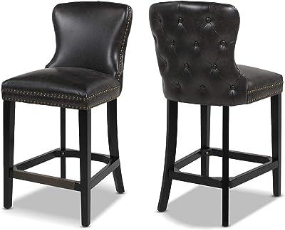 """Jennifer Taylor Home Solano 26"""" Leather Bar Stool (Set of 2), Vintage Black"""
