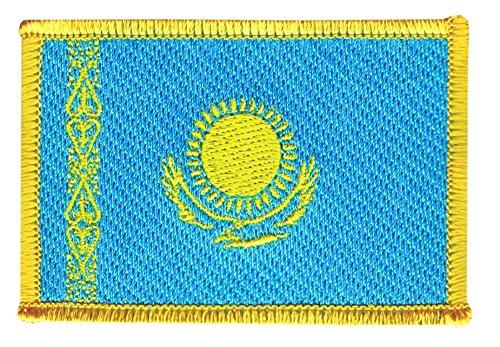 Flaggenfritze Flaggen Aufnäher Kasachstan Fahne Patch + gratis Aufkleber