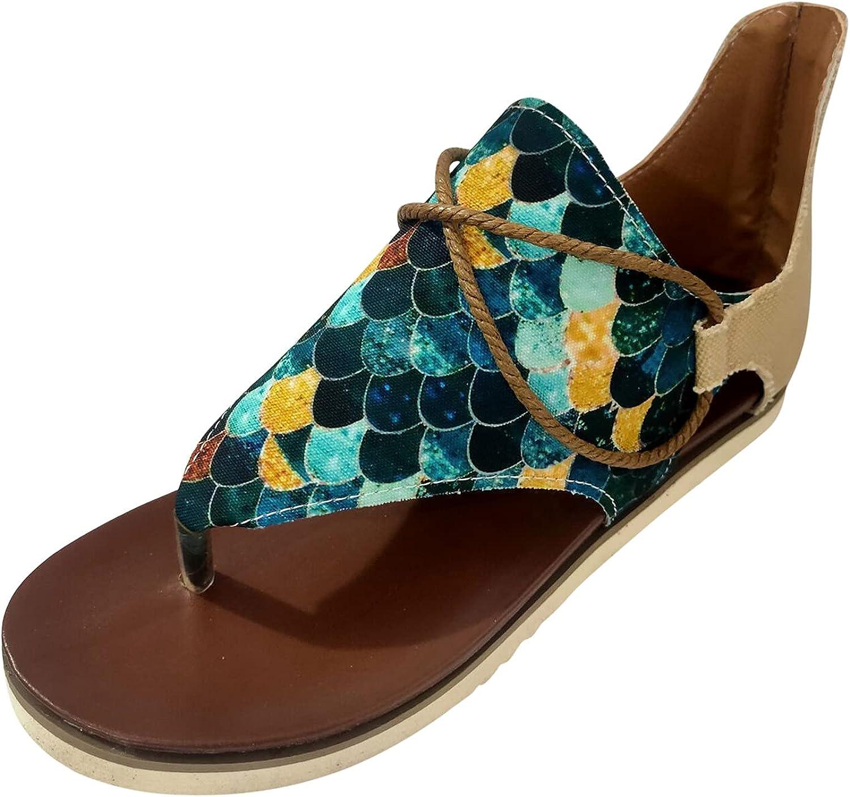 Slides Sandals for Women Casual Flat Posh Vintage Animal Print Flip-Flop Comfy Sandals Zipper Gladiator Shoes