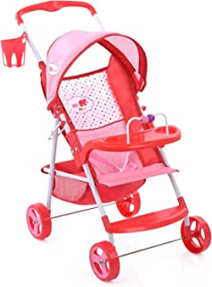 Little Mommy Doll Stroller (D83389) with Retractable Canopy - Little Cup Holder, Front Tray with Toy bar & footrest - Fold...