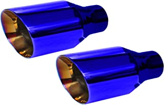 2.25 inch Inlet NETAMI NT2372-2 Double Wall Stainless Steel Exhaust Tips 2 Pack (Blue, 2.25