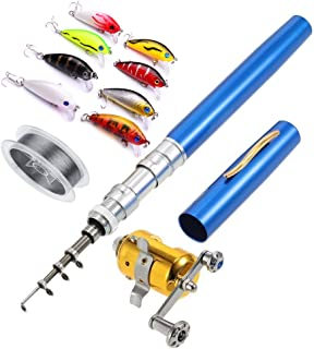 Telescopic Pocket Pen Fishing Rod Pole,100 Meters Nylon Monofilament Fishing Line,10 Pack /5 cm Hard Fishing Lure,Pocket Fish Pen Shape Aluminum Alloy Fishing Rod Pole Reel Combos,Random Color