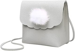 Everpert Mini Shoulder Purse Women Pu Leather Hair Ball Flap Messenger Bags/Grey