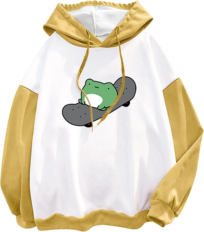 Hotkey Hoodies for Women, Women's Drawstring Long Sleeve Pullover Tops Cartoon Frog Printed Hooded Active Sweatshirts