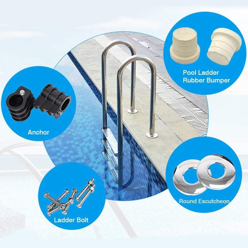 Kit de remplacement d/échelle de piscine Boulon d/échelle de piscine et pare-chocs en caoutchouc avec ancre de piscine et /écusson rond de piscine pour /échelle de piscine