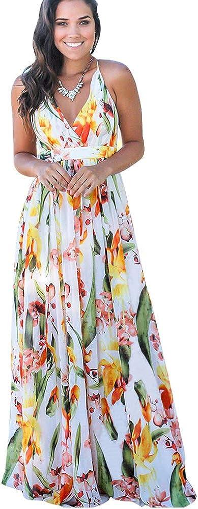 BOMBAX Sexy Women Deep V-Neck Floral Print Long Maxi Summer Beach Casual Cross Bandage Backless Sleeveless Party Dress