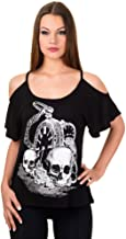Banned Gothic schoudervrij dames T-shirt doodshoof...