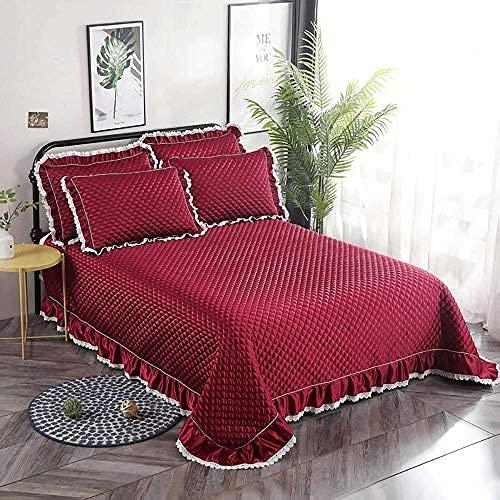 Ropa de cama de 3 piezas, colcha, cationes, poliéster, algodón, acolchado, colcha, sábana, estilo europeo, doble, tamaño king, comodidad, funda de cama, ropa de cama (230x250cm) con 2 fundas de almoha