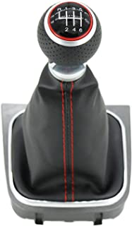 kangbeier for VW Golf 5 MK5 R32 GTI 2004 2005 2006 2007 2008 2009 Car-Stying 6 Speed Car Gear Stick Level Shift Knob with Leather Boot