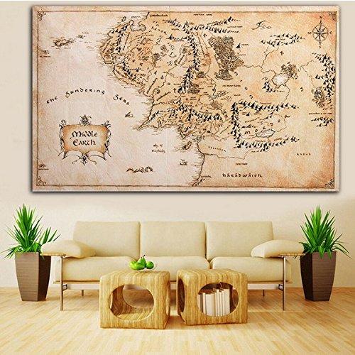 Inovey 110X60Cm Mapa De La Tierra Media Señor De Los Anillos De Tela De Seda Cartel Hogar Decoración