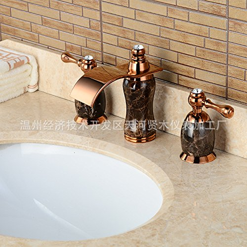 Maifeini - Grifo de cascada para lavabo, color jade natural, grifos dorados, cataratas de lavabo