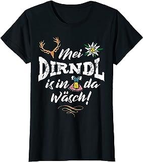 Mei Dirndl is in da Wäsch T-Shirts Mei Dirndl is in da Wäsch mit Edelweiß & Hirsch Damen Lustig T-Shirt