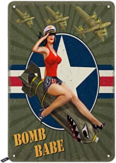 Swono Pin-Up Bomb Tin Signs,Sexy Girls Sit on Shark Bomb Green Vintage Metal Tin Sign for Men Women,Wall Decor for Bars,Re...