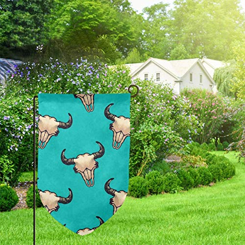 IconSymbol Garden Outdoor Flag Stand Banner Bison Skulls Turquoise Texture Look Decorative Weather...
