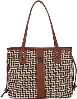 DOCILA Vintage Hahnentritt-Handtasche für Frauen, Reißverschluss, Reisetaschen, große Größe, Pendler-Taschen