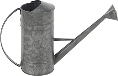 """Deco 79 29326 Watering Can, 6"""" W x 11"""" H, Gray"""