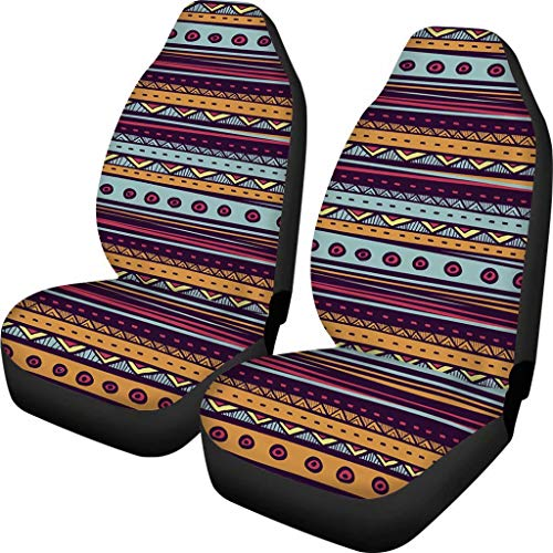 Aoopistc 2 Piece Ethnic Pattern Vintage Cars Seats Cover Washable Durable Car Front Seat Cushions