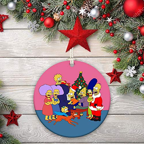 Ceramic Ornaments Homer Simpson, Santa, Abraham Simpson, Mona Simpson, Herbert Powell, Abbie Simpson, The Simpsons character, gift, pine