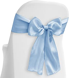 Lann's Linens - 50 Elegant Satin Wedding/Party Chair Cover Sashes/Bows - Ribbon Tie Back Sash - Baby Blue