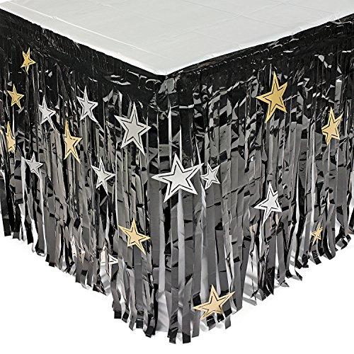 cama24com Silvester Tischumrandung schwarz mit silbernen und goldenen Sternen Tischdeko 2,74m Palandi®