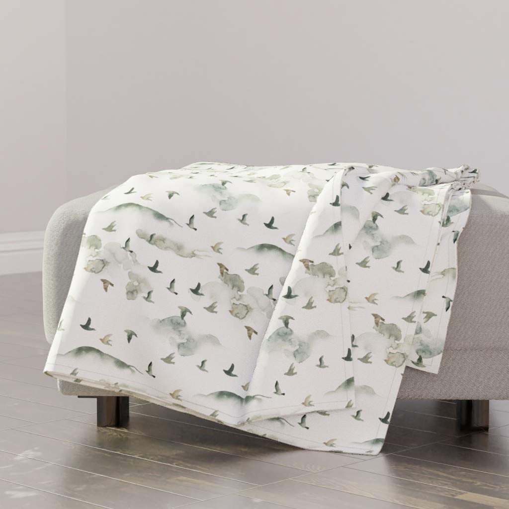 Roostery Spoonflower Throw Blanket Bird Max 87% OFF New sales Nature Birds Fore Green