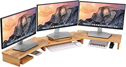 "LANGRIA Bamboo Wood Monitor Stand Riser 3 Shelf for Dual Triple Screens Computer, Office Desktop, Ergonomic Design with Desktop Organizer and Storage Adjustable Length and Angle (50""x7.48"