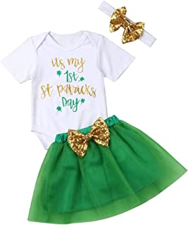 Newborn Baby Girl St. Patrick's Day Romper Short Sleeves Clove Top Bodysuit Tulle Skirt Lace Layers Dress Clothes Set